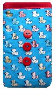 Blau quacky Enten Print Handysocke–auf Bestellung Größe–Made (Königreich-ente Vereinigtes)