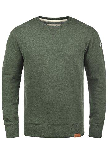 !Solid Trip O-Neck Herren Sweatshirt Pullover Pulli Mit Rundhalsausschnitt Und Fleece-Innenseite, Größe:L, Farbe:Climb Ivy Melange (8785)
