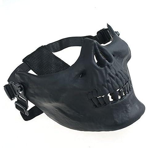 Calavera Esqueleto Máscara táctica Airsoft Paintball inferior protectora media cara máscara, negro