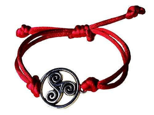 Pulsera cordón seda con TRISKEL en peltre. Nudo corredizo. (rojo)