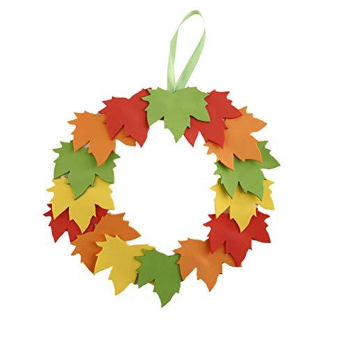 BESTOYARD 2 stücke DIY Thanksgiving Handwerk Kit Maple Leaf Kränze Hängen Herbst Tür Kränze Dekorationen -
