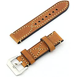 "Owfeel(TM) Delicate ""S"" Stitching Coffee Color Leather Replacement Watch Band Strap Belt"