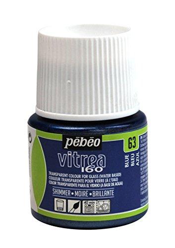 Pebeo Vitrea 160 Glasfarbe, 45 ml, schimmernd, Glasmalfarbe, Blau (Pebeo Vitrea 160 Farbe)