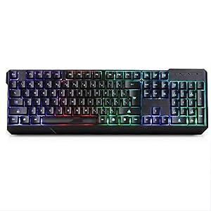 WXGZS Gaming-Tastatur, Regenbogen-Hintergrundbeleuchtung LED-Gaming-Tastatur Ultra-Dünne Verdrahteten USB-Tastatur Mit 104 Tasten Gaming-Tastatur ABS Kunststoffplatte Für Gamer/Schreibkräfte