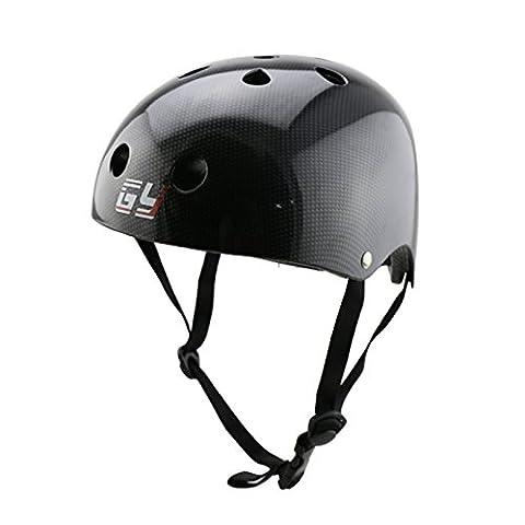GY ABS Material Schale Kinder Erwachsene Skateboarder Helm ,Einzigartige Carbonfolie (Black, XS)