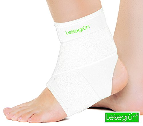 Leisegrün Sprunggelenkbandage mit Klettverschluss, stützt den Fuß nach Einer Verletzung und beim Sport - Fußgelenkbandage geeignet für Damen, Herren und Kinder, rechts & Links tragbar, weiß (L-XL)