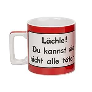 """Sheepworld 42031 Wortheld-Tasse """"Lächle! Du kannst sie nicht alle töten."""", Porzellan, rot"""