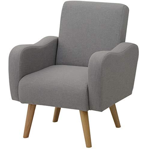 Homcom poltrona stile nordico ergonomica imbottita in tessuto di lino, grigio, 72 x 77 x 93 cm