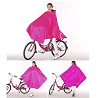 FORTR home Poncho Bike Raincoat Single Unisex Mountain Bike Waterproof Poncho Increase Thickening Middle School Students Riding Long Section (Color : Rose red)