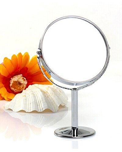 SAMGU Rundschwenktisch Spiegel Freistehend Badezimmer Rasur & doppelseitige Kosmetikspiegel