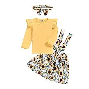 catmoew Mädchen Sets (6M-4Y) Säuglingskind Kind Spitze Langärmliges Hemd + Rückenrock + Haarband Dreiteiliger Babykleidung mädchen Kleider Kinder