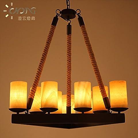 Mármol Americana ZSQ Candelabros de hierro Continental Retro cuerda colgante luz L Hilo Candelabros de mármol Arte Chanderlier Luz Lámpara #303