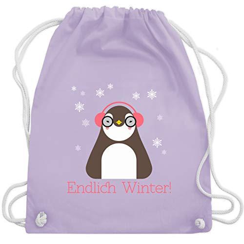 Wintersport - Endlich Winter Pinguin kalt - Unisize - Pastell Lila - WM110 - Turnbeutel & Gym Bag