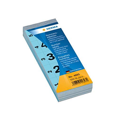 HERMA 4893 Nummernetiketten Zahlen 1 - 500, doppelt (56 x 28 mm, Papier, matt) selbstklebend, permanent haftend, fortlaufender Nummernblock, 500 Etiketten, blau