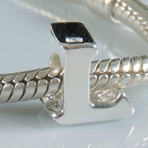 Charms-Anhänger, Alphabet A-Z, aus 925erSterlingsilber, Perlen für Pandora-Armband Letter L (Pandora Buchstaben)