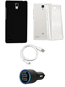 NIROSHA Cover Case Car Charger USB Cable for Xiaomi Redmi Note - Combo