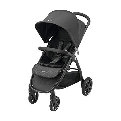 Bébé Confort Gia passeggino leggero e compatto, pieghevole con una mano, reclinabile posizione nanna, da 0 mesi fino a 22 kg, colore Nero (nomad black)