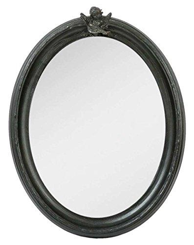 Clayre & Eef 62S062 Spiegel Wandspiegel Engel oval schwarz ca. 30 x 40 cm