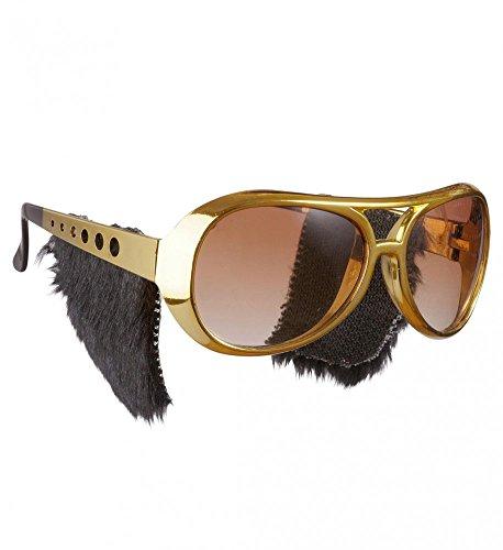 shoperama Goldene Sonnenbrille mit Koteletten Kostüm-Zubehör Brille 50er Jahre King Retro Rock 'n' Roll