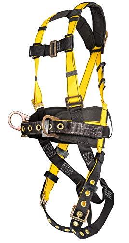 MSA 10077571 Werkstattgeschirr mit Rücken-/Hüft-D-Ringe, Zungenschnalle, Beingurte, Qwik-Fit Brustgurtschnalle, integriertes Rückenpolster, Werkzeuggürtel und Schulterpolster, Standard -