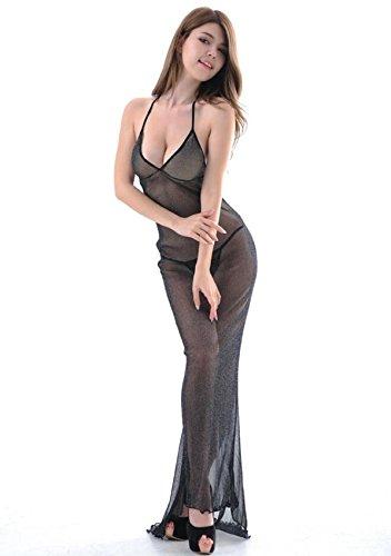 DuuoZy Frauen reizvolle Wäsche-Satz bloße Spitze Mesh-lange Kleid Nachthemd mit G-Schnur , black
