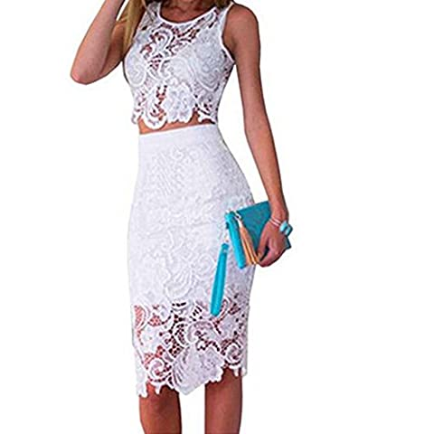 Clorislove Damen Sommerkleid Strandkleid Rundhals Ausschnitt ärmellos Spitze Stitching eng Taille Rock Frauen Partykleid (Small, Weiß)