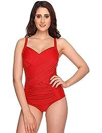Nidhi Munim Red Cross Rouching Swimsuit for Women