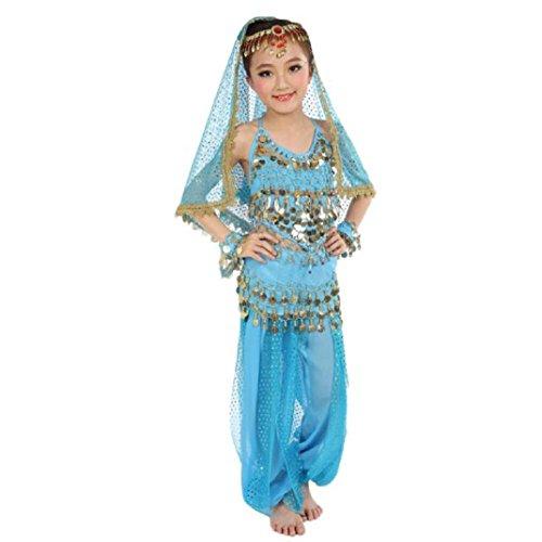 Schön Mädchen Bauchtanz Kostüme,Amcool Kinder Bauchtanz indisch Performance Kleid Kleider (M, Himmelblau)