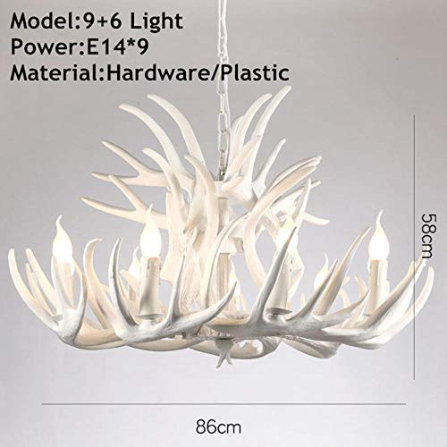 Brown White Resin Antler Weinlese-Leuchter-Beleuchtung 4/6/9 Arme E14 Luxus Kronleuchter für Haus-Beleuchtung, Weiß 9x6 Arme, AC220V -