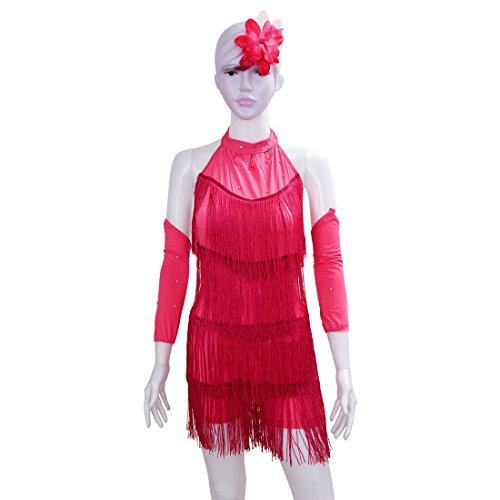 SODIAL(R) Lateinamerikanischer Tanz Kleid Maedchen 100cm Latin Franse Kleid Ballsaal Tanz Kostuem Tanzen Kleidung rosa (Kostüm Für Mädchen Ballsaal)