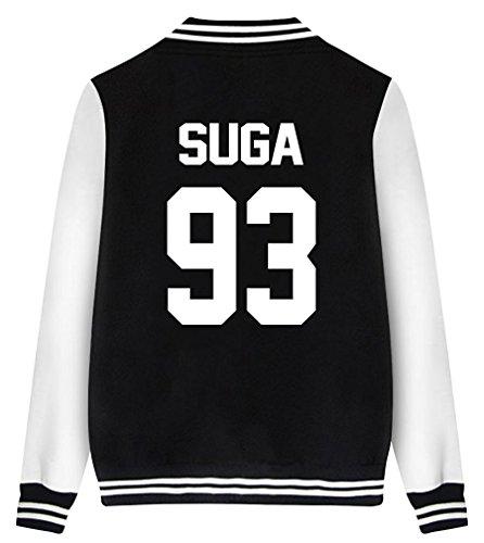 ShallGood Damen Jacke Blouson BTS Fans Sweatshirt Sweatjacke Baseball Uniform Langarm Stehkragen Tops Coat Bomberjacke Bikerjacke...