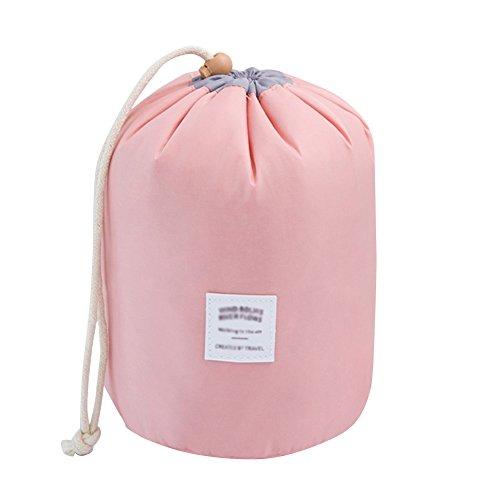 Trousse de toilette de voyage pour cosmétiques - Sac de rangement avec cordon, housse de transport avec petite pochette rose rose taille unique