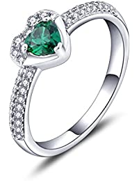 YL JEWELRY Femme Argent 925 Bague Marier Bague Shinning Coeur Zirconium vert Fiançailles Princesse Style Bijoux