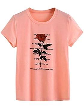 [Sponsorizzato]T shirt Elegante Donna Rcool Lettere di rose stampa Camicia Manica corta Estate casuale sportivo gilet top Camicetta