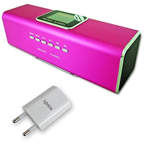 Geschenk-Set Music Angel - Mini Lautsprecher mit Radio, Stereo Boxen mit USB- & MicroSD-Slot, Wecker, Uhr & Line-In + passendem USB-Netzteil 1000mAh (pink)