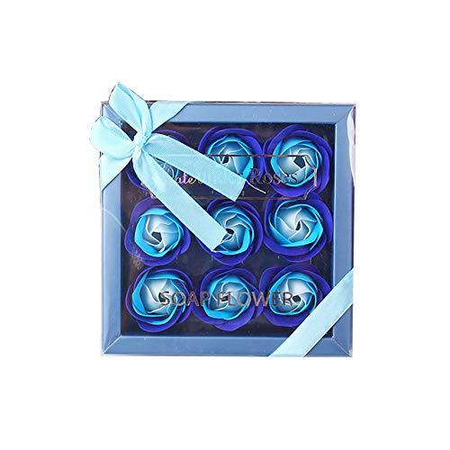 Xiton 1 paquete Jabón de pétalos de rosa Jabones de pétalos de rosa Aceite esencial Jabón de rosas Dulce set de regalo para el aniversario de la boda Día de San Valentín Día de la madre (Azul)