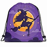 Drawstring Backpack String Bag 14x16 Hat Broom Holiday Sexy Costume Witch Silhouette Over Flying Broomstick Season Adult Beauty Black Girl Design Sport Gym Sackpack Hiking Yoga Travel Beach