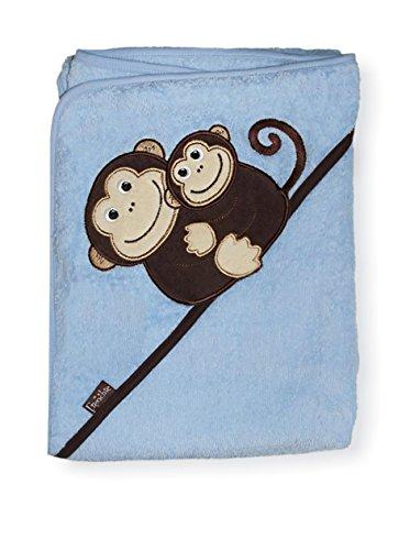 Extra groß 100X75 cm saugfähige Handtuch mit Kapuze, Affen (blau) von Frenchie Mini Couture (Frottee Gewebte)