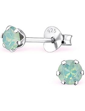 EYS JEWELRY® Damen-Ohrringe Kreis rund 4 x 4 mm Swarovski Elements Glitzer Kristalle 925 Sterling Silber grün-blau...