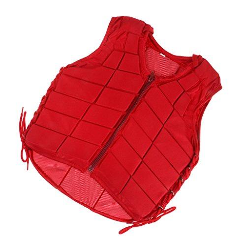 Veste d'Equitation Gilet Adjustable à Protection du Corps pour Adulte/Enfant - Rouge - L, Rouge