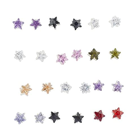 Lux Accessoires Multi Couleur pierre en forme d'étoile Multi Boucles d'oreilles Lot de 12PC