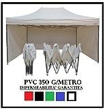 GAZEBO PIEGHEVOLE 3X4.5 BIANCO ACCIAIO + 4 TELI LATERALI PVC 350 g metro