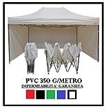 GAZEBO PIEGHEVOLE 3X4.5 BIANCO ACCIAIO + 4 TELI LATERALI PVC 350 g metro immagine