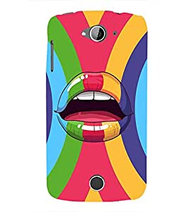 ANIMATED ABSTRACT LIPS IN A MULTICOLOURED CIRCULAR STIPED BACKGROUND 3D Hard Polycarbonate Designer Back Case Cover for Acer Liquid Z530