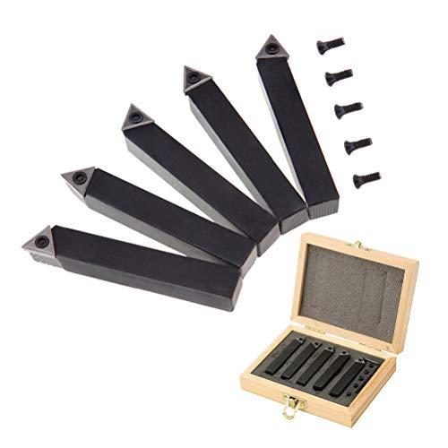 Hemobllo Drehmaschinen-Werkzeug-Set mit Hartmetall-Spitzen, 10 mm, 3/8 Zoll Drehmaschine, Bohrstange, Drehwerkzeug, Halterset mit indexierbaren Wolframcarbidspitzen für CNC-Maschinen, 5 Stück