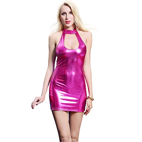 Zangaiyizu Frauen Sexy Lackleder Kleid Hohe Elastische Leder Mehrfarbige Uniform Backless Club Cosplay Kostüm Versuchung Nacht Erotik Erwachsene Spezielle Anlässe Arbeitskleidung,Pink,M (Erwachsene Sexy Kleider)