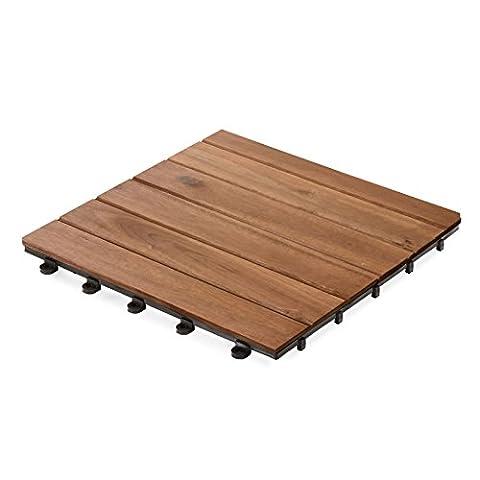 casa pura Interlocking Acacia Wood, Garden & Patio Decking Tiles - 33 Tiles, 30x30cm (3m²) | Multiple Tile Sets Available, Arden