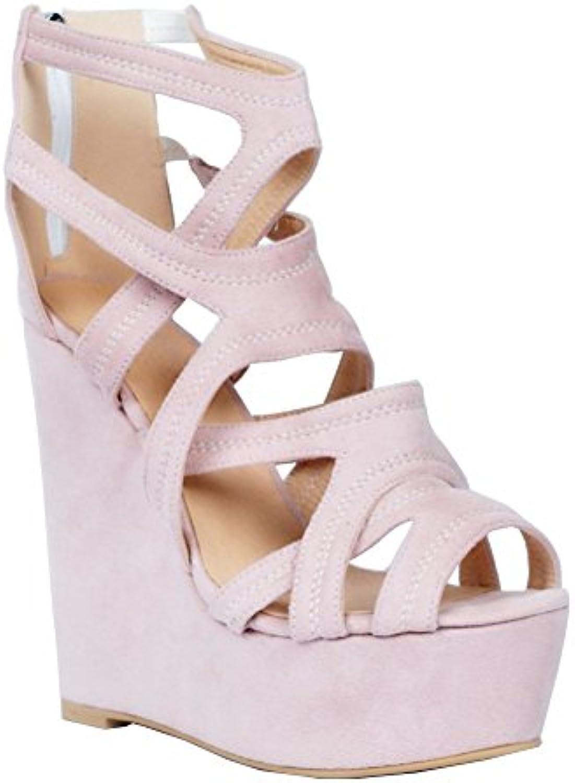 Kolnoo Femmes Handmade 15cm Wadge haut talon creux fermeture à sandales glissière partie sandales à chaussures 954eb8