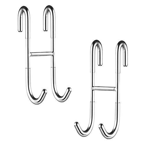 ecooe Duschhaken Ohne Bohren Haken Duschwand 2er Set mit Silikonschoner für Glasduschwand Handtuchhalter sowie Halterung für Duschabzieher