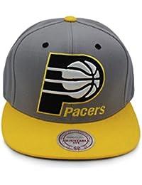 Mitchell   Ness Kappe Cappy Cap Herren Pacers Indianer Grau Gelb Logo  unterm Schild bff853051fd